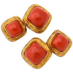 Italian Hand Engraved Gold Coral Double Sided Cufflinks
