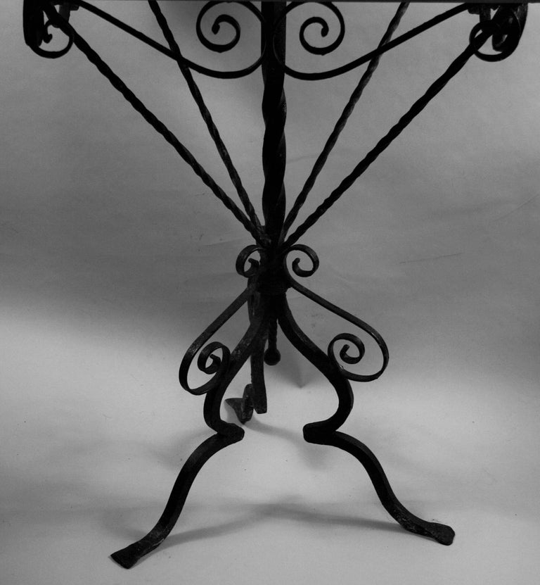 Early 20th Century Italian Hand Made Iron Based Table with Ceramic Top For Sale