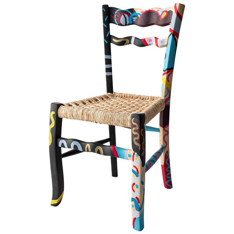 "Italian Hand Painted Ashwood Chair ""A Signurina - Palermo"" For Sale"