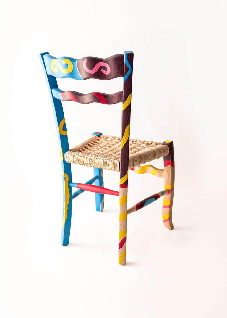 Mid-Century Modern Italian Hand Painted Ashwood Chair