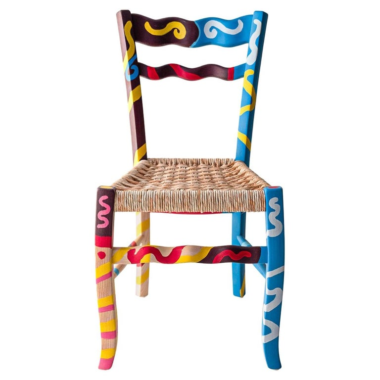 "Italian Hand Painted Ashwood Chair ""A signurina - Sciacca"" by MYOP For Sale"