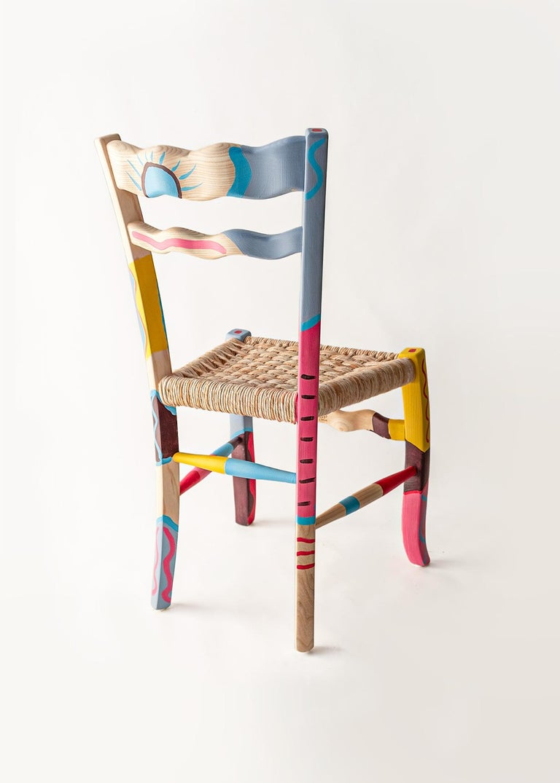 Mid-Century Modern Italian Hand Painted Ashwood Chair