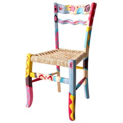 "Italian Hand Painted Ashwood Chair ""a Signurina - Taormina"" by MYOP"