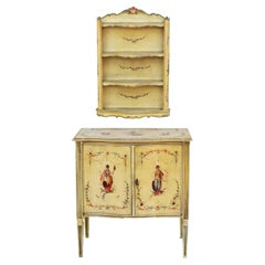Italian Hand Painted Cabinet and Shelving Ensemble C1960