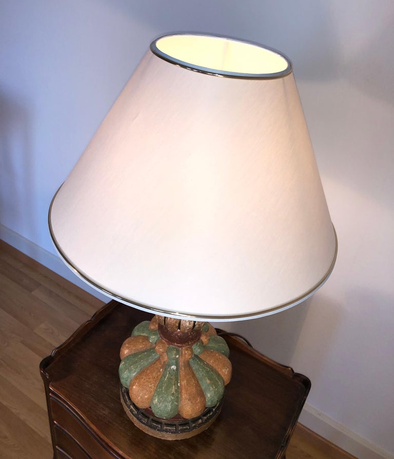Italian Hand Painted Carved Wood Table Lamp, Midcentury, circa 1980 ON SALE  In Good Condition For Sale In London, GB