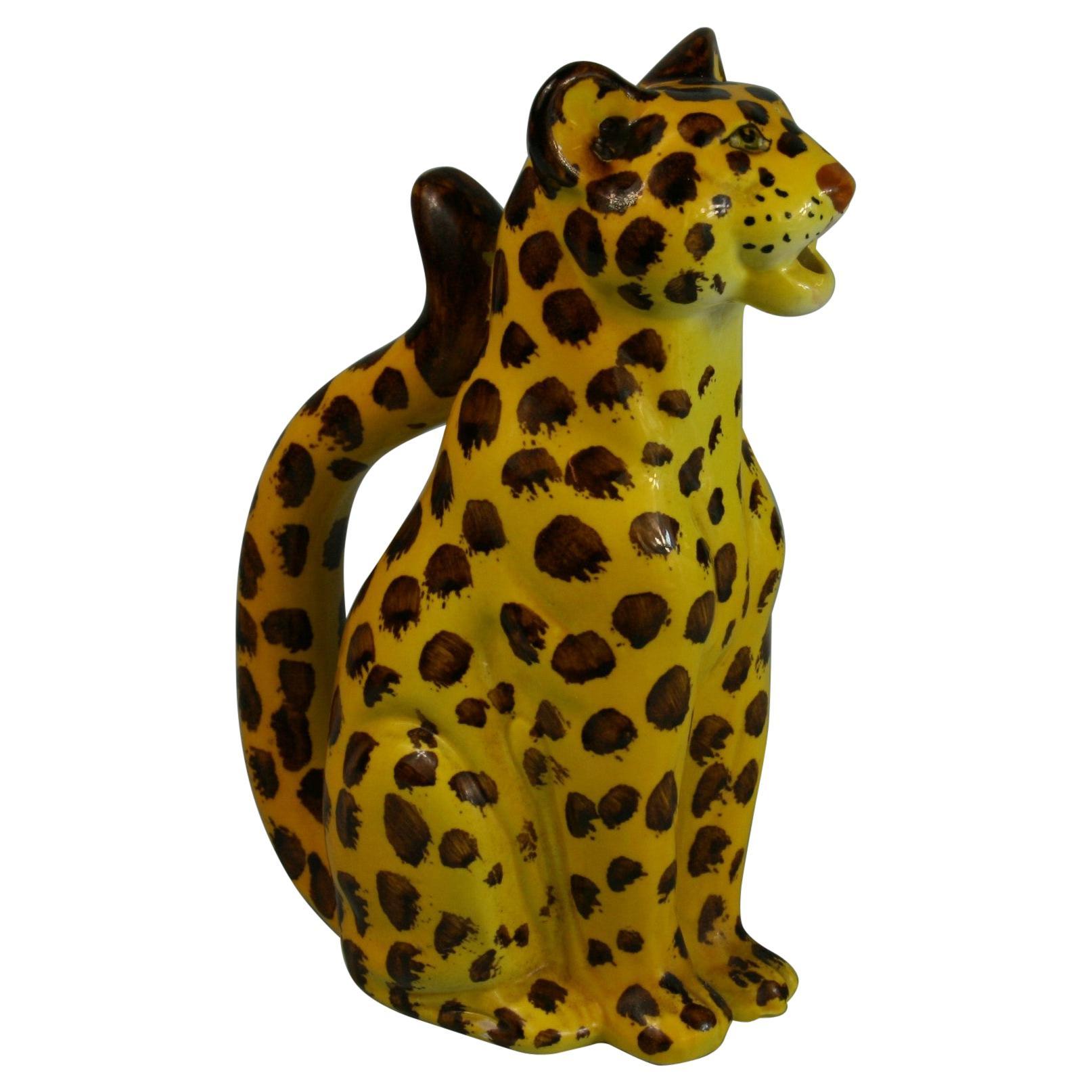 Italian Hand Painted Ceramic Cheetah Sculpture/Pitcher, 1970's