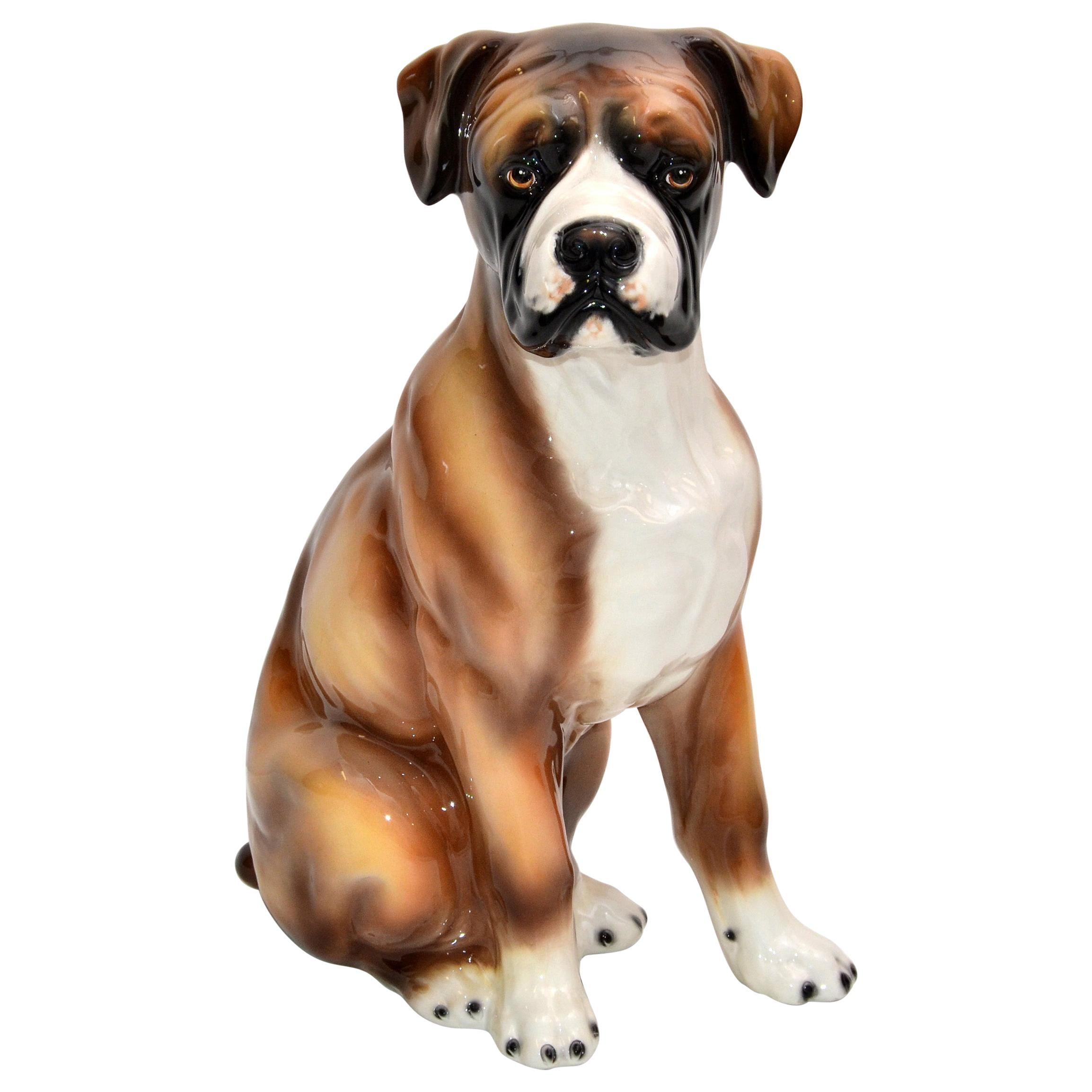 Italian Hand Painted & Ceramic Life-sized Boxer Dog Statue, Animal Sculpture