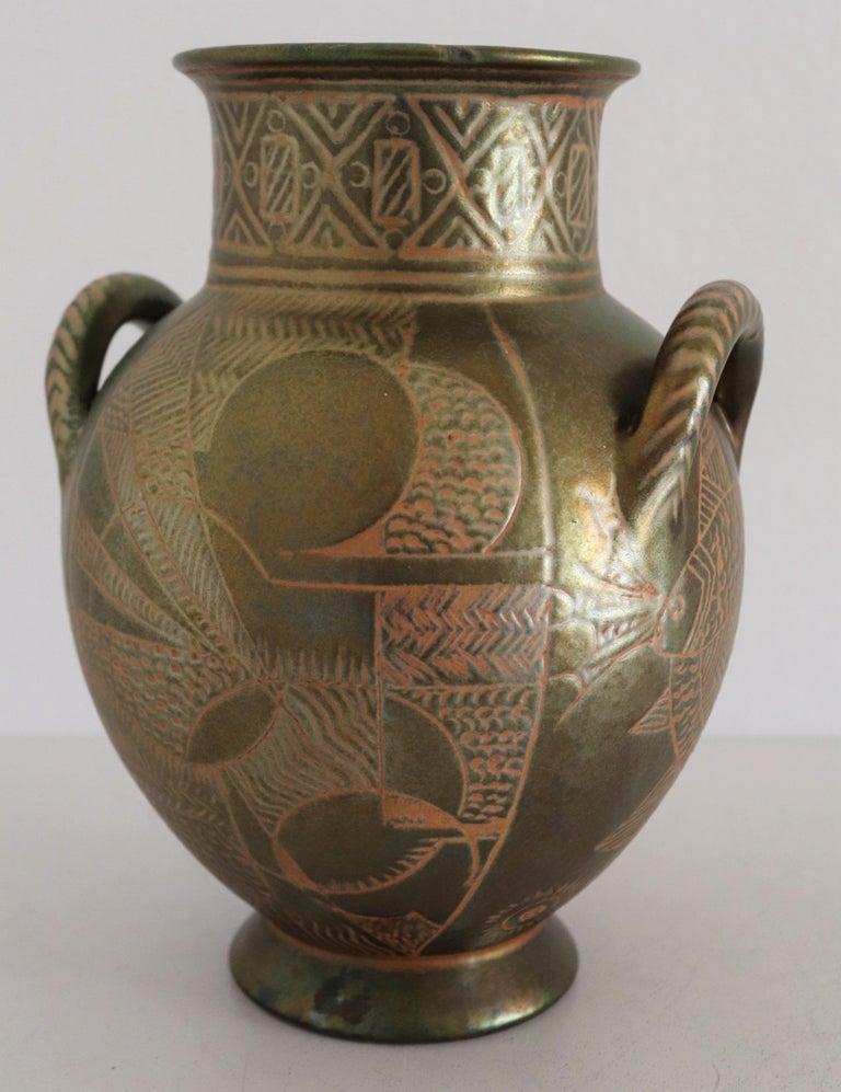 Italian Hand Painted Ceramic Vase in Lustro Glaze by Riccardo Gatti Faenza 1950s For Sale 6