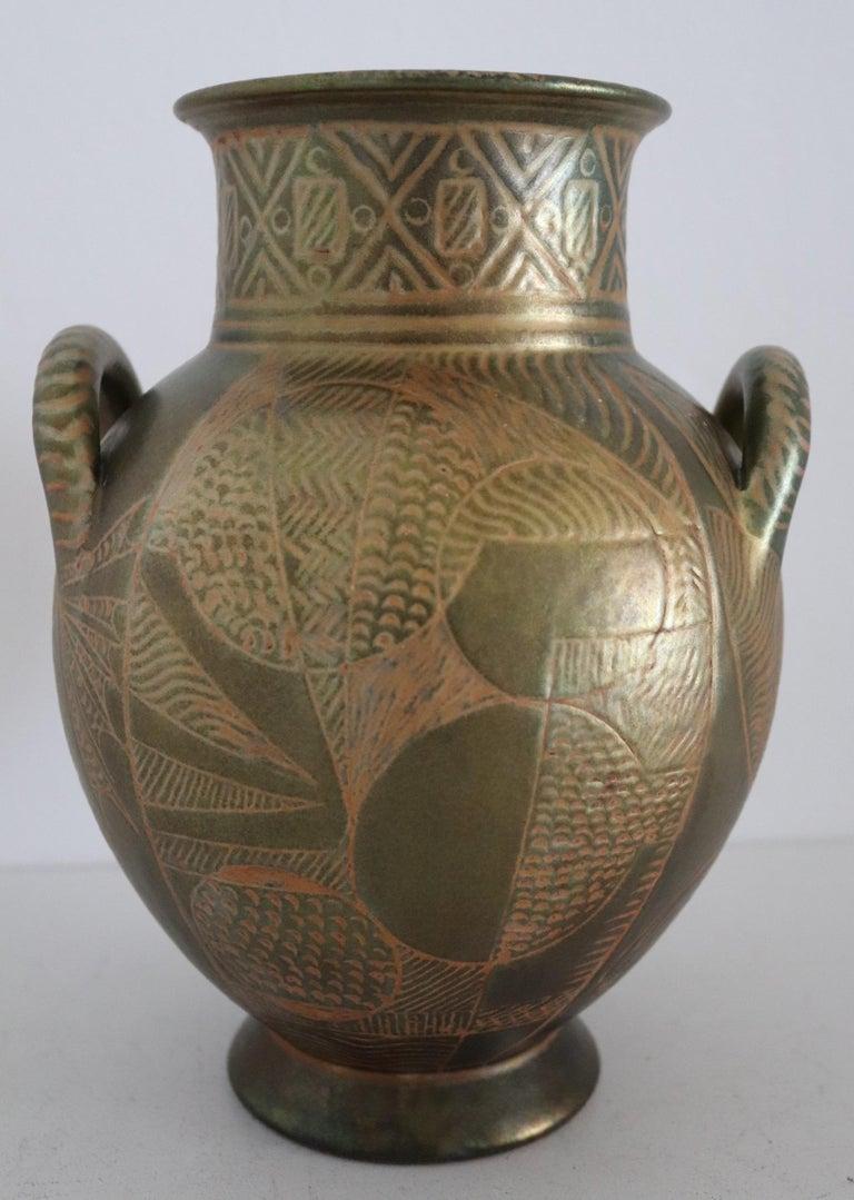 Italian Hand Painted Ceramic Vase in Lustro Glaze by Riccardo Gatti Faenza 1950s For Sale 10