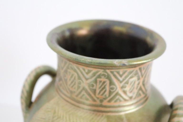 Italian Hand Painted Ceramic Vase in Lustro Glaze by Riccardo Gatti Faenza 1950s For Sale 13