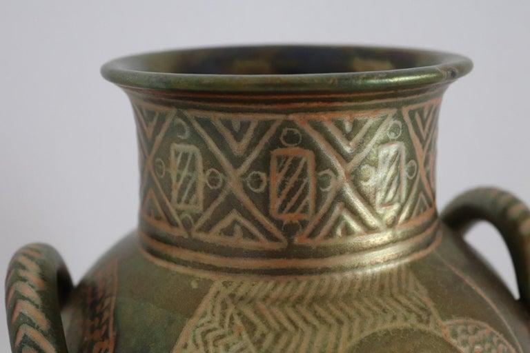 Italian Hand Painted Ceramic Vase in Lustro Glaze by Riccardo Gatti Faenza 1950s For Sale 1