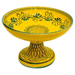 Italian Hand Painted Compote Centerpiece Ceramic Bowl