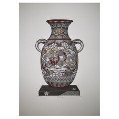 "Italian Hand Painted Japanese ""KAGA"" Vase Print"