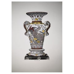 "Italian Hand Painted Japanese ""SATSUMA"" Vase Print"