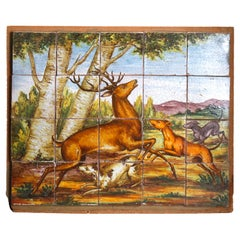 Italian Hand Painted Majolica Art Pottery Hunt Scene Tile Group, circa 1880