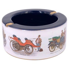 Italian Hand Painted Porcelain Ashtray with Antique Cars & Gold Accents