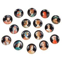 Italian Hand Painted Porcelain Renaissance Portrait Drink Coasters 16