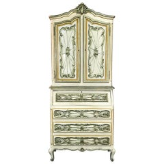 Italian Hand Painted Secretary, Bookcase from Piemonte, Italy