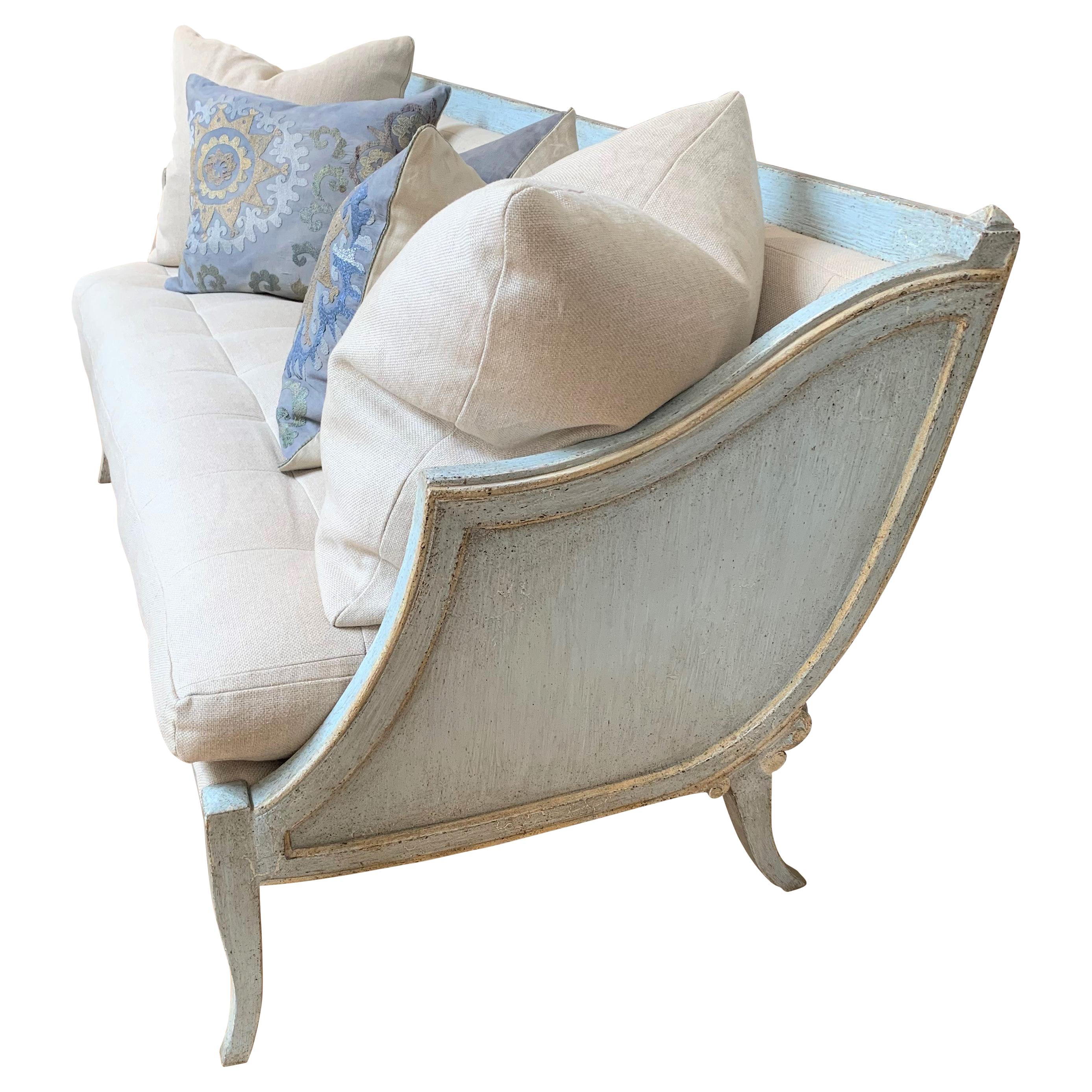 Italian Hand Painted Sleigh Settee, Antiqued Blue Crackle Finish