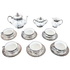 Italian Hand Painted Silver Decoration Tea Set by Richard Ginori 15 Pieces