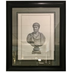 Italian Hand Press with Black Patinated Frame Representing a Roman Emperor
