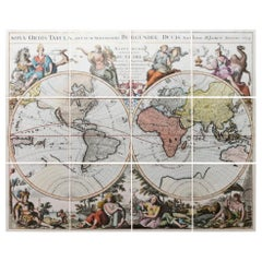 Italian Handcolored Old Map Reproduction Printed on Rough Canvas