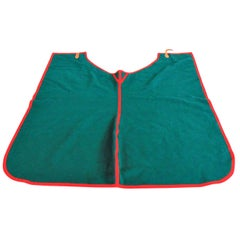 Italian Handcrafted Green Blanket Horse Throw Wool Leather Selleria Pariani 1980