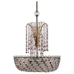 Italian Handcrafted Murano Art Nouveau Waterfall Chandelier in Brass and Crystal