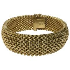 Italian Handmade 14 Karat Yellow Gold Mesh Bracelet