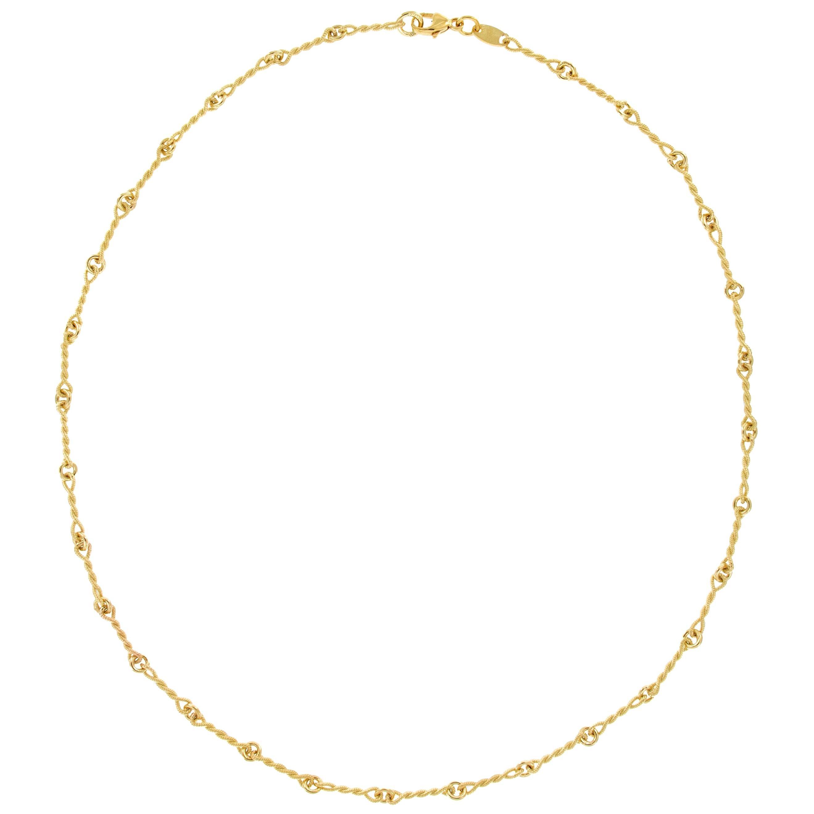 "Italian ""Handmade"" 18 Karat Yellow Gold Chain Link Necklace"