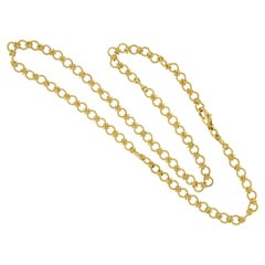 "Italian ""Handmade"" 18 Karat Yellow Gold Chain Link Necklace"