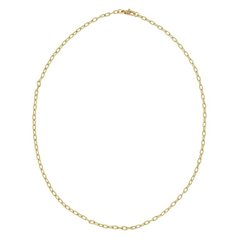 "Italian ""Handmade"" 18 Karat Yellow Gold Chain Link Necklace For Sale"