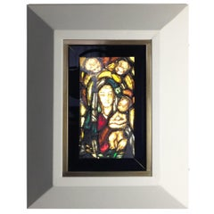 Italian Handmade 1960s Wall Backlit Artistic Window with Madonna Child & Angels