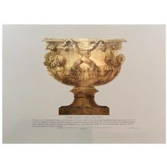 Italian Handmade Antique Vase Print with Press Engraving on Pure Gold Leaf