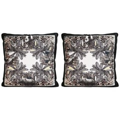 Italian Handmade Contemporary Style, Black and Wild Collection Pillow Set of Two