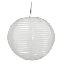 Italian Handmade Ivory Murano Glass 1970s Suspension Lamp