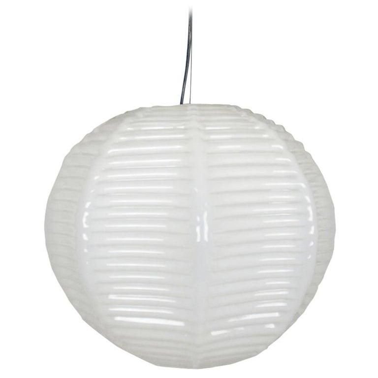 Italian Handmade Ivory Murano Glass 1970s Suspension Lamp For Sale