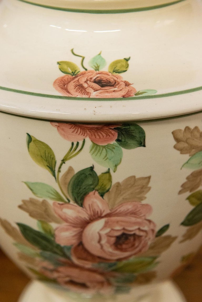 Hand-Painted Italian Hand Painted Ceramic Table Lamp with Roses For Sale