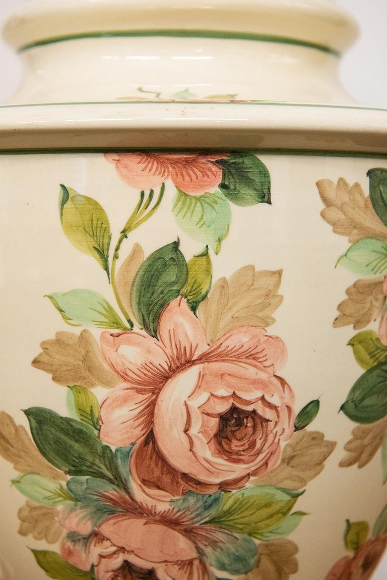 20th Century Italian Hand Painted Ceramic Table Lamp with Roses For Sale