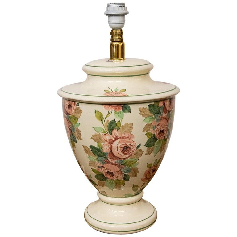 Italian Hand Painted Ceramic Table Lamp with Roses For Sale