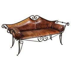 Italian Handwrought Iron Leather Upholstered Window Bench Settee