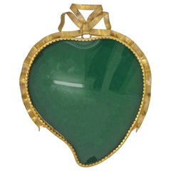 Italian Heart-Shaped Gold Metal Wall Frame, 1950s