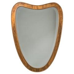 Italian Heart-Shaped Mirror, circa 1940, Walnut Frame