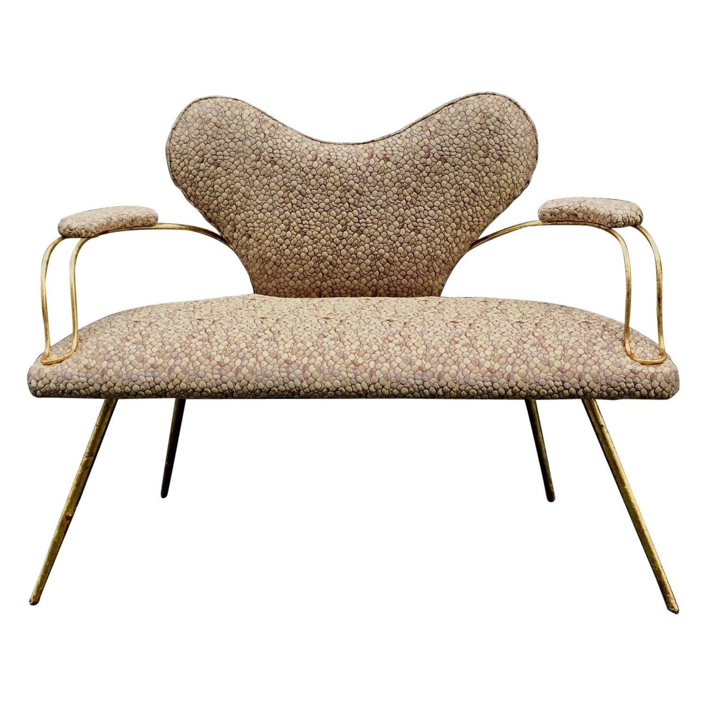 Awe Inspiring Italian Heart Shaped Small Padded Sofa Metal Golden Leaf Camellatalisay Diy Chair Ideas Camellatalisaycom