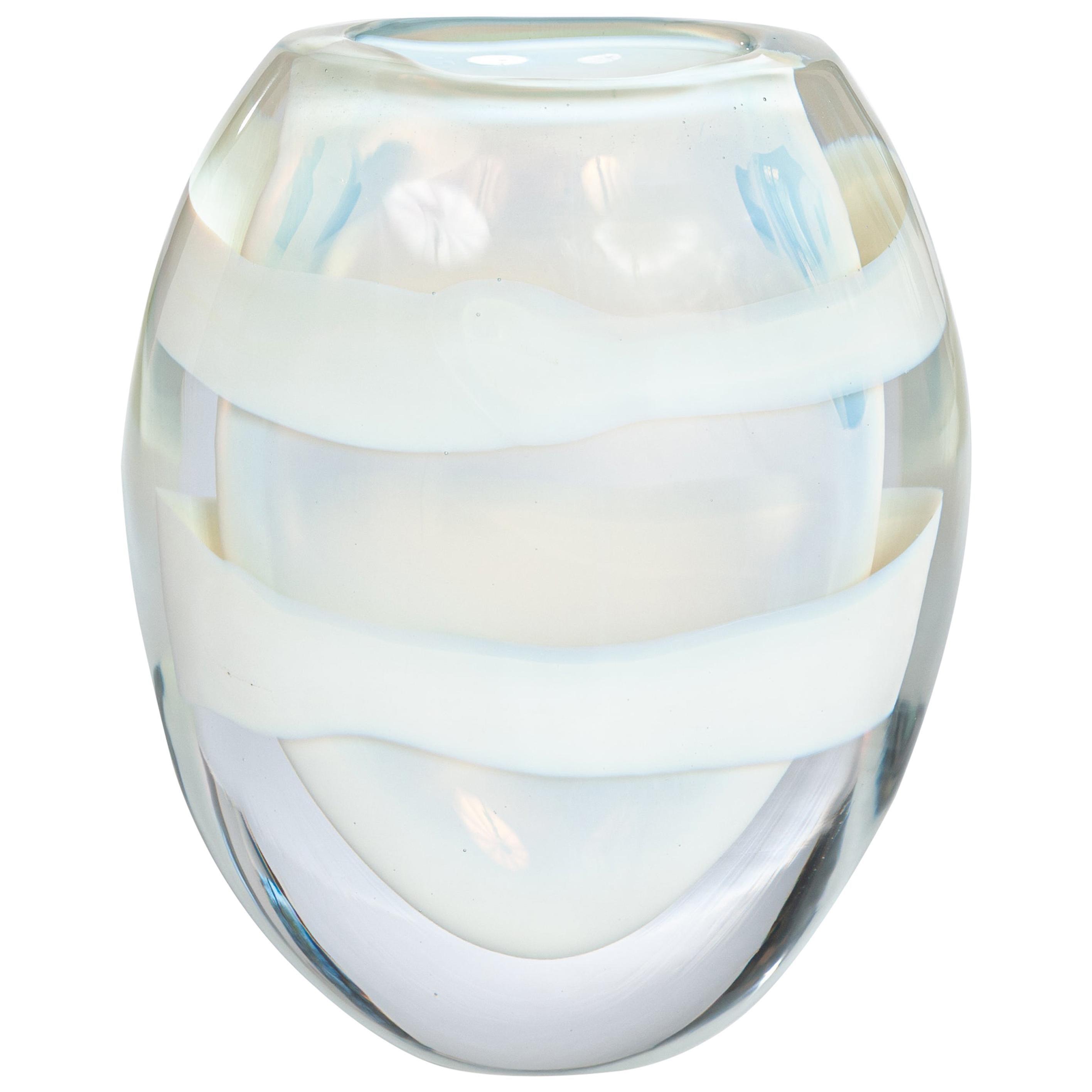 Italian Heavy Opalescent Murano Glass Vase Sign by P. Signoretto