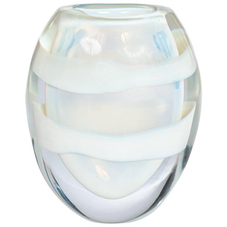 Italian Heavy Opalescent Murano Glass Vase Sign by P. Signoretto For Sale