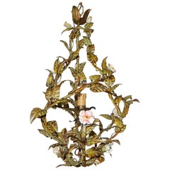 Italian Heavy Tole Porcelain Roses and Flowers Chandelier, 1850