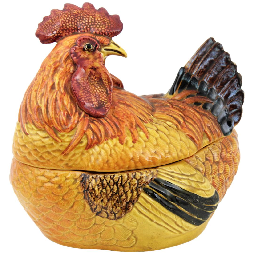 Rooster Glazed Ceramic Large Soup Tureen / Eggs Container, Italy, 1950s