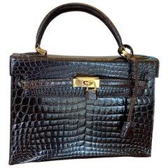 Italian Hermes Style Alligator Handbag In The Kelly Bag Style.