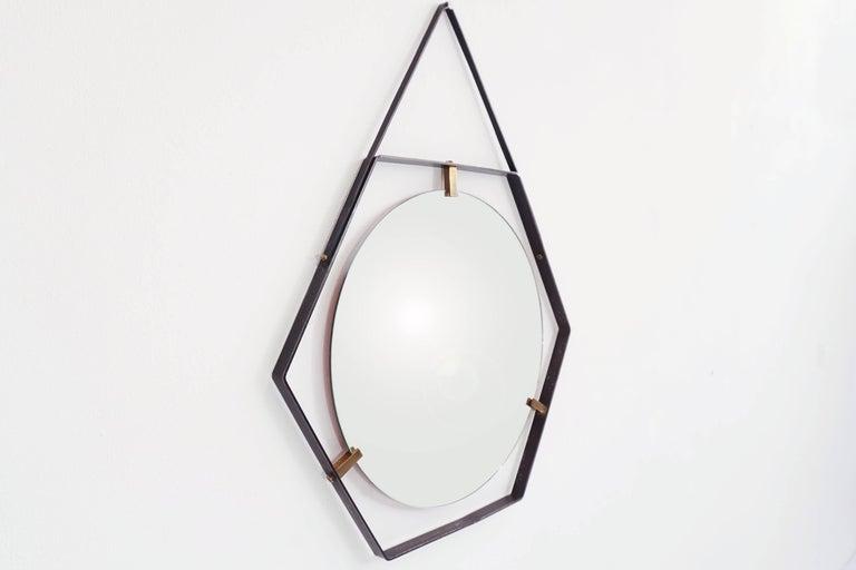 Mid-Century Modern Italian Hexagonal Mirror by Sant'Ambrogio & de Berti in Metal, Brass & Leather For Sale